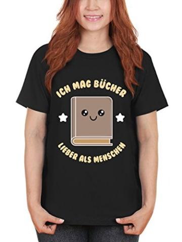 clothinx Damen T-Shirt Unisex Ich Mag Bücher Lieber als Menschen Schwarz Gr. S - 2