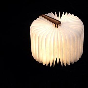 Große LED Buch lampe in Buch Form Holzbuch mit 2500 mAh Akku Lithium Nachttischlampe Nachtlicht dekorative Lampen Ölbildscheibe Papier + Holz Einband warmweiß Licht, Maße 22x3x17.5 cm - 2