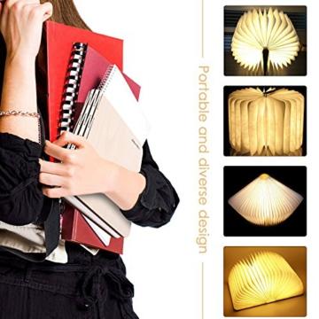 Große LED Buch lampe in Buch Form Holzbuch mit 2500 mAh Akku Lithium Nachttischlampe Nachtlicht dekorative Lampen Ölbildscheibe Papier + Holz Einband warmweiß Licht, Maße 22x3x17.5 cm - 4