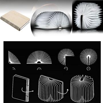 Große LED Buch lampe in Buch Form Holzbuch mit 2500 mAh Akku Lithium Nachttischlampe Nachtlicht dekorative Lampen Ölbildscheibe Papier + Holz Einband warmweiß Licht, Maße 22x3x17.5 cm - 7