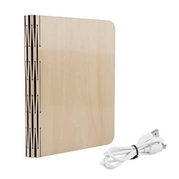 Große LED Buch lampe in Buch Form Holzbuch mit 2500 mAh Akku Lithium Nachttischlampe Nachtlicht dekorative Lampen Ölbildscheibe Papier + Holz Einband warmweiß Licht, Maße 22x3x17.5 cm - 9