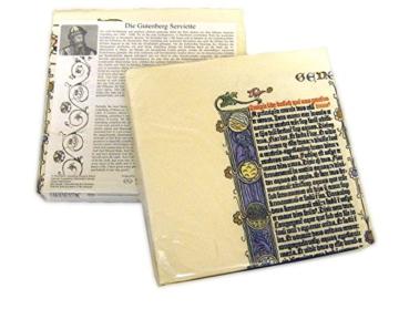 Gutenberg Serviette: Reproduktion einer Original Gutenberg Bibelseite -