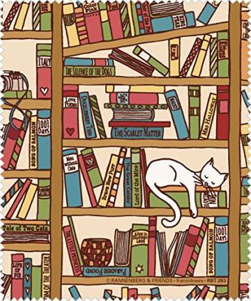 Brillenputztuch Katze im Bücherregal, Microfasertuch -
