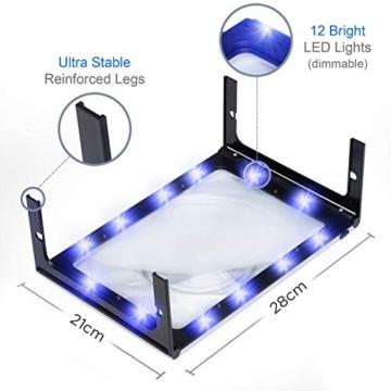 Leselupe mit Standfüßen und  LED Licht -