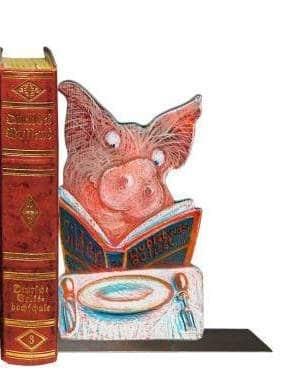 Karikatur Buchstütze  'Du bist was du liest' -
