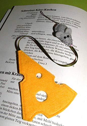 Lesezeichen Maus & Käse aus Filz -