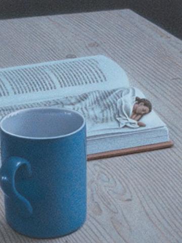 "Postkarte Quint Buchholz  ""Nachts mit Buch"" -"