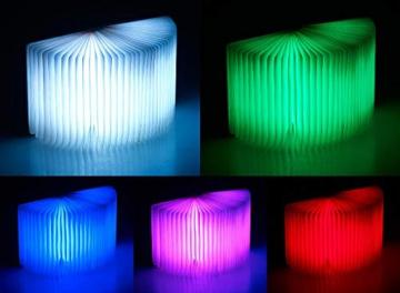 Lunartec Buchlampe: Klappbare LED-Stimmungsleuchte im Buch-Design -